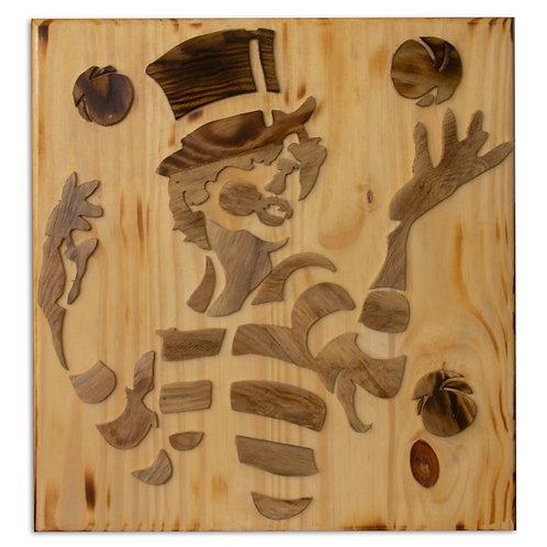 2401006 תבליט עץ של ג'אגלר עם 3 כדורים