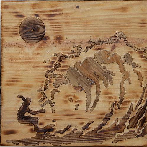2401007 תבליט עץ של גולש גלים