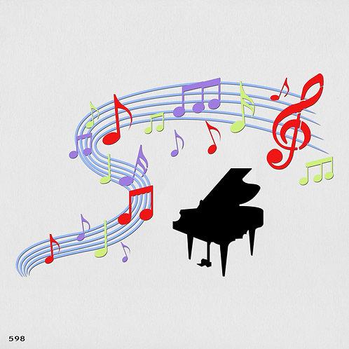 598 שבלונה פסנתר ותווים