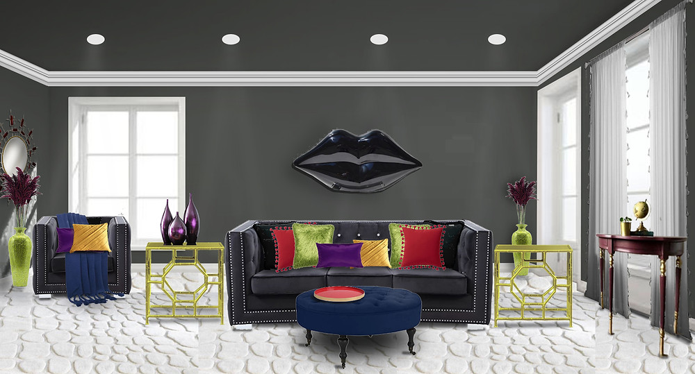 Living room idea black sofa tufted rainbow colors challenge