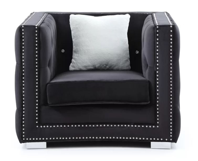 Living room idea black arm chair tufted