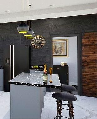 Black and blue kitchen design idea