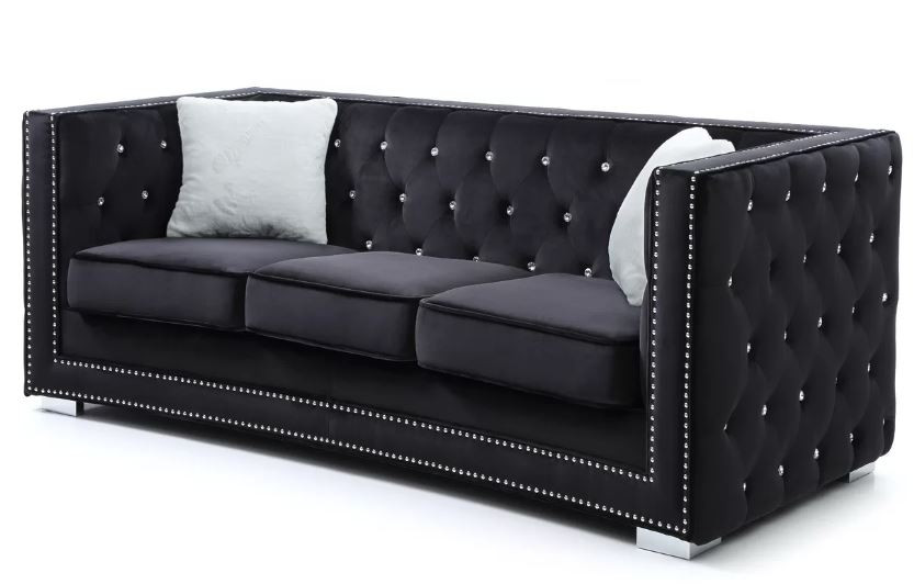 Living room idea black sofa tufted