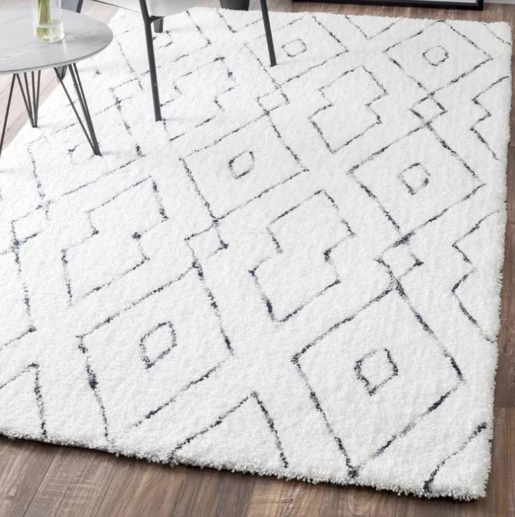 living room idea white rug