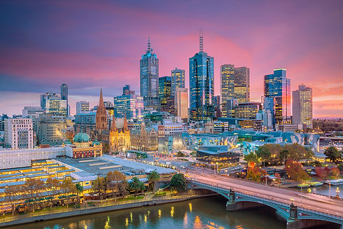 Melbourne city skyline at twilight in Au