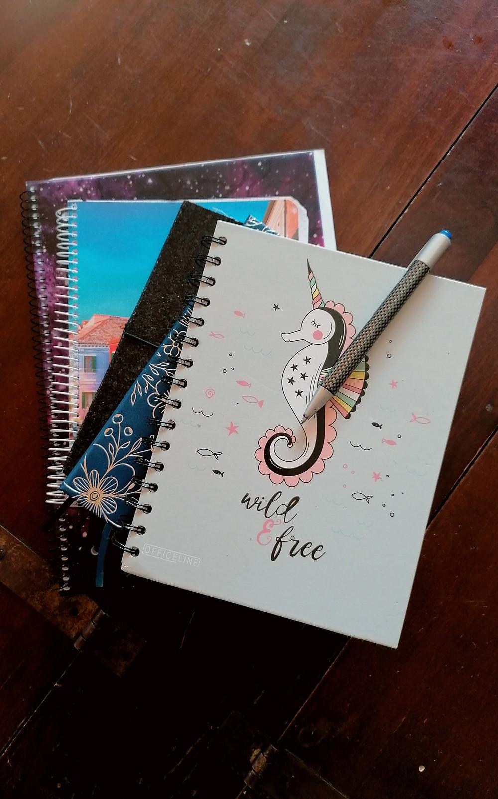 Ein stapel unterschiedlicher Notizbücher mit einem Kugelschreiber auf hölzernem Untergrund