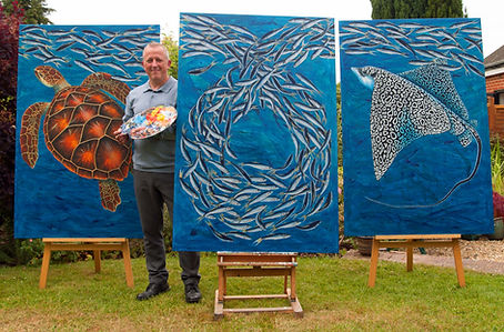 Keith Siddle with his 'Sardines' triptyc