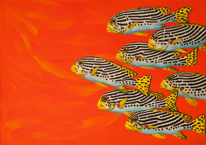 Sweetlips - Orange / over 20,000 hand drawn and painted scales!
