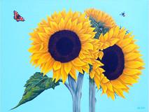 Sunflowers, a Tortoiseshell butterfly & a Bee