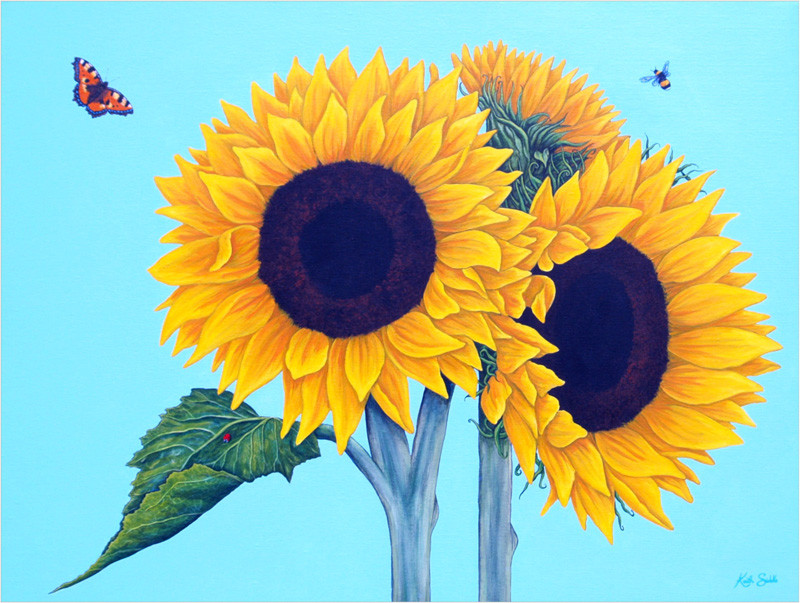 Sunflowers, a Tortoiseshell butterfly & a Bee