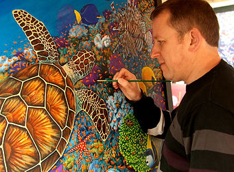 Keith working on the Turtle & the Reef p