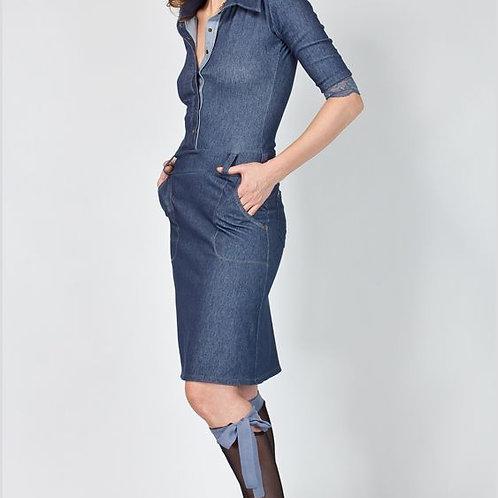 Платье джинсовое стрейч на кнопках