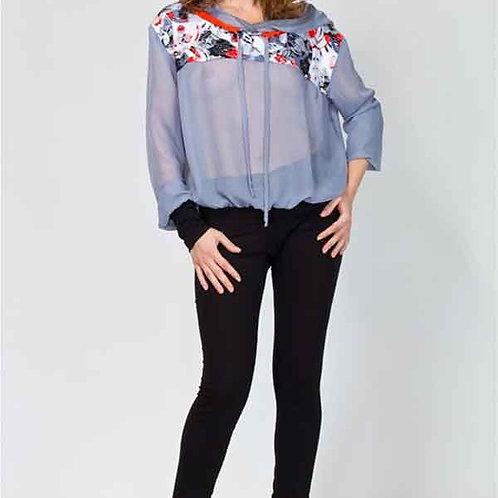 Блуза шифоновая свободная с кружевом и капюшоном