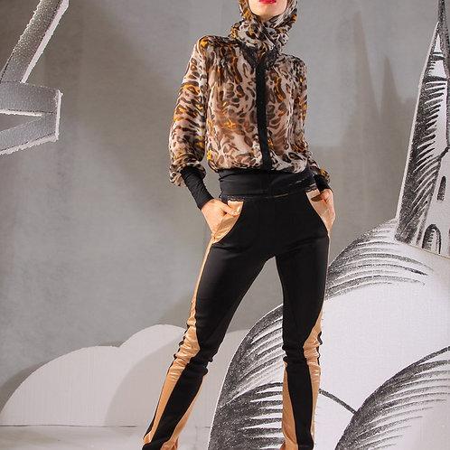 Куртка шифон Леопард с кружевом