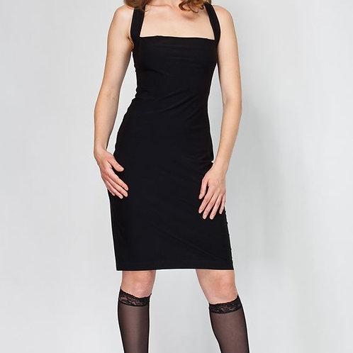 Платье черное с широкими бретельками