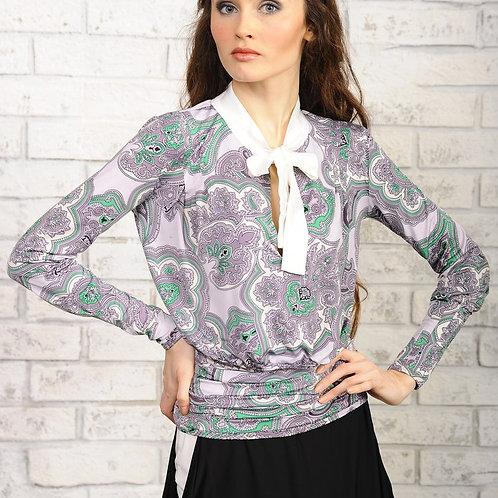 Блуза Сирень с завязкой бантом