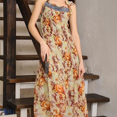 Платье Шифон длинное в пол с кружевом