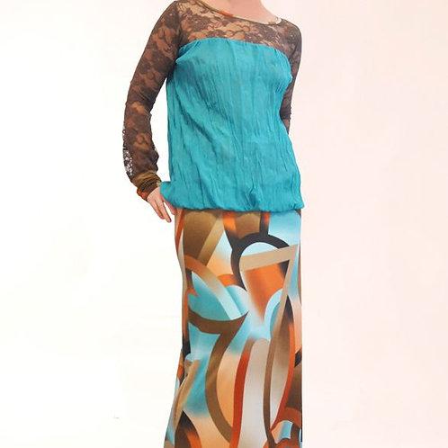 Платье Бирюза удлиненное с кружевными рукавами
