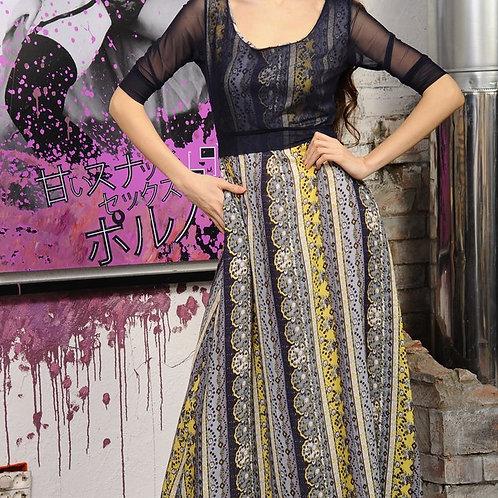 Платье Натурель длинное в пол с двойным лифом
