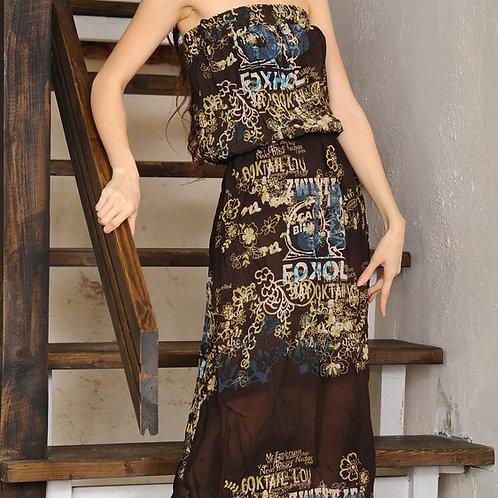 Платье декольте длинное Шоколад