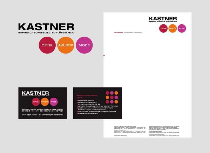Neugestaltung Logo Kastner Optik/Akustik/Mode, Geschäftspapiere, Gutscheine, Tüten