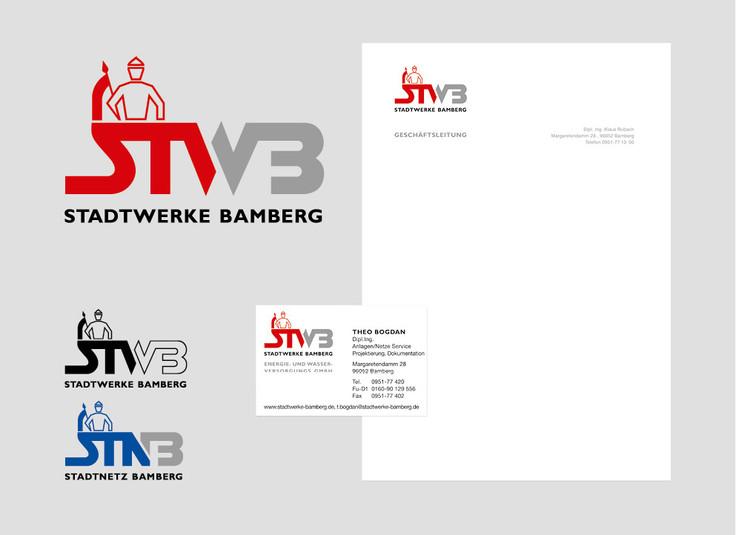 Überarbeitung Logo Stadtwerke Bamberg, Entwicklung von Logos für Unterbereiche, Geschäftspapiere