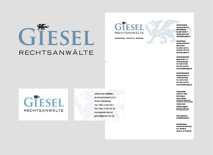 Neugestaltung Logo Giesel Rechtsanwälte, Geschäftspapiere, Kanzleischild