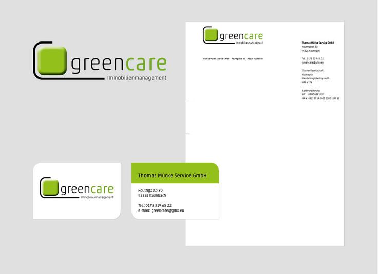 Neugestaltung Logo greencare Immobilienverwaltung, Geschäftspapiere