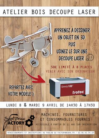 Atelier Découpe Laser les 8 & 9 Avril au Fablab