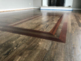 Red Oak stained Jacobean?Ebony with Jatoba boarder