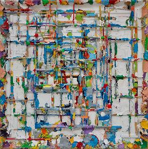'Stratagem of Saints' 2019, mixed media on wood, 48cm x 48cm, Joseph Piasentin.jpeg