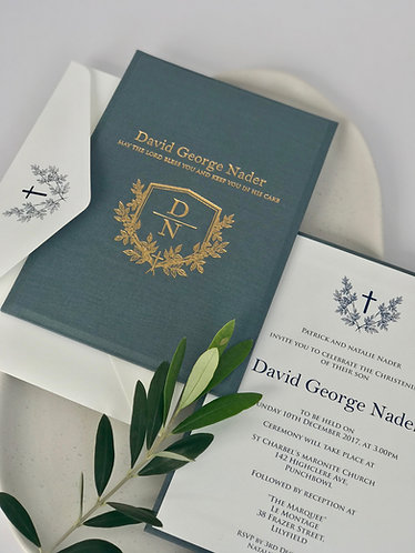Metal Blue Linen Invitation