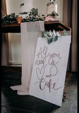 Personalised wooden wedding sign - white