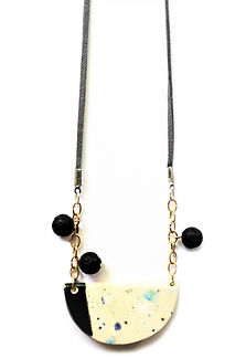 Handmade ceramic necklace with lave immitation beads