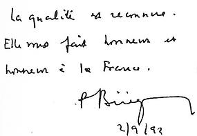 petit mot de félicitation de Pierre Bérégovoy, Premier Ministre