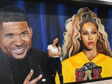 Danielle's Artwork paints Usher, Beyonce & Chris Brown in a cinema room!