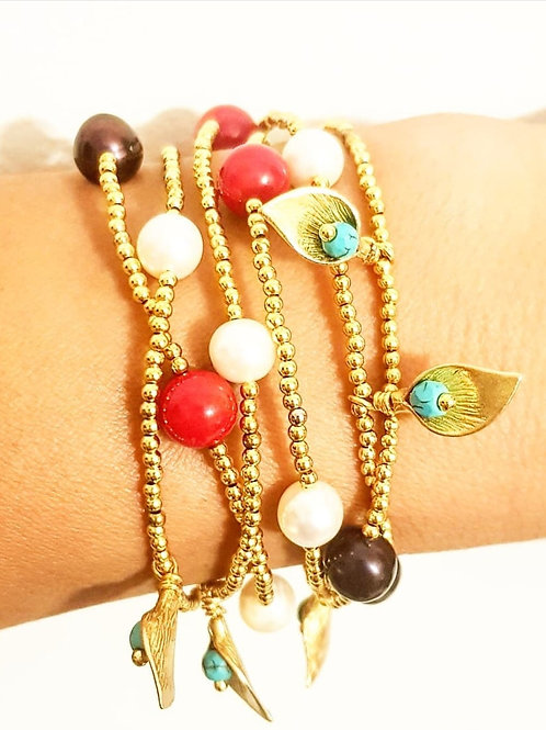 Gold plated versatile long necklace