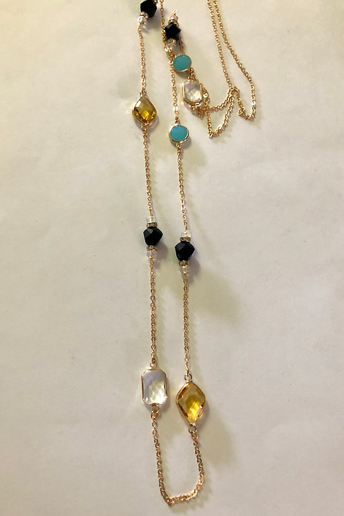 """40"""" gold plated with turquoise black and topaz #44"""