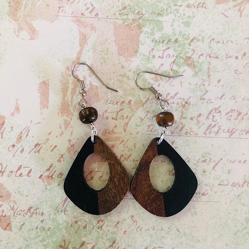 Stainless steel earring hooks, wood/resin black dangles #4