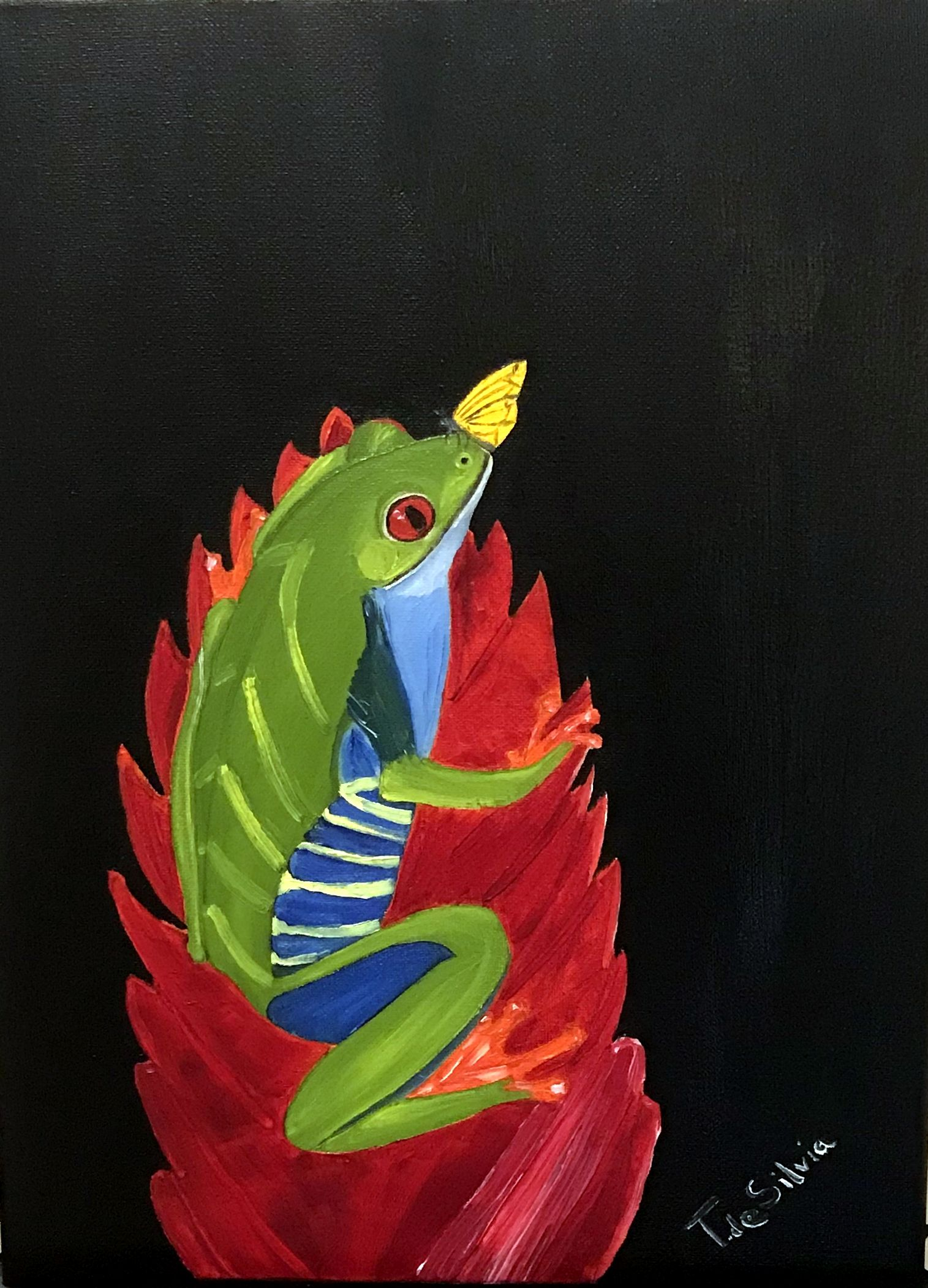 44) Frog on a ginger lily - 12 inches x