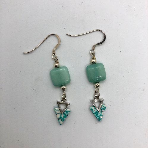 Sterling silver earring hooks with aqua arrowheads and aqua square #7