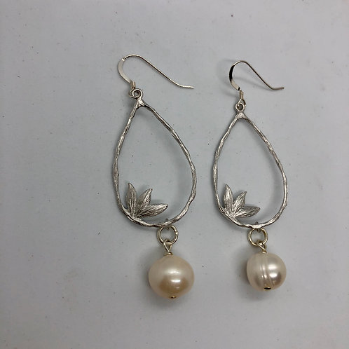 Sterling silver earring hooks with teardrops and white freshwater pearls #17