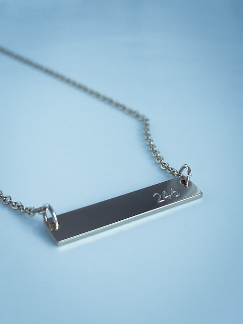 Plate necklace with '246' engraved pendant (Silver) #10