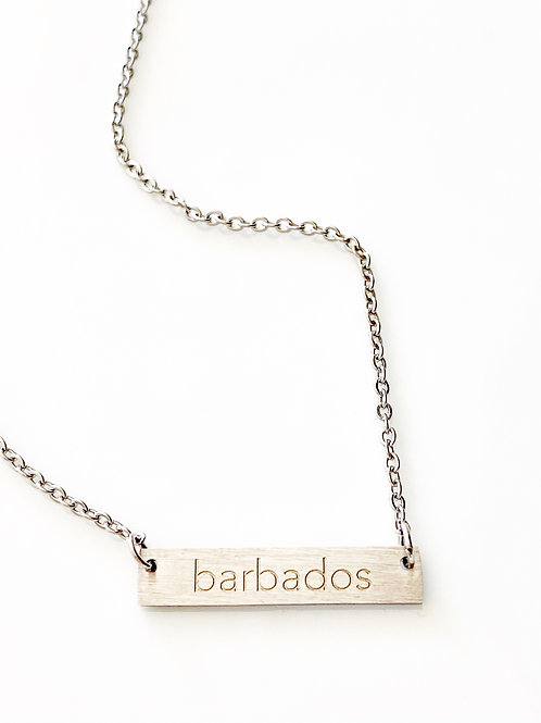 Barbados plate necklace with engraved 'Barbados' pendant (Silver) #6