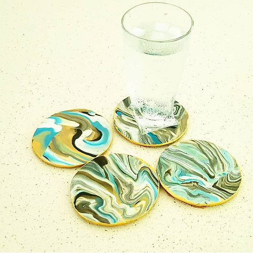 Handmade polymer clay coasters (4 coasters)