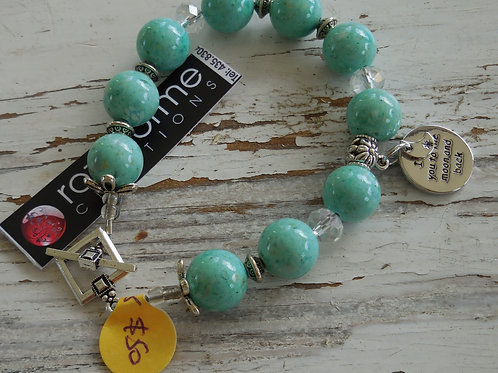 Mint green riverstone with Love You to the Moon and Back drop #25
