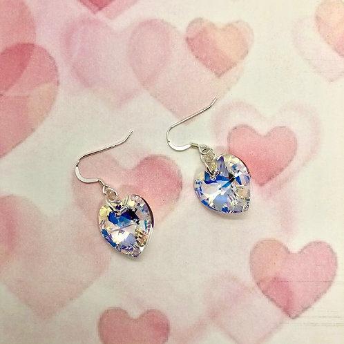 Sterling silver earring hooks with large AB Swarovski hearts #9