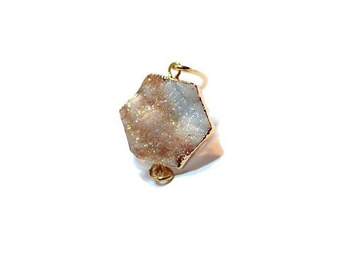 Druzy Gemstone Ring 24k gold plated #3