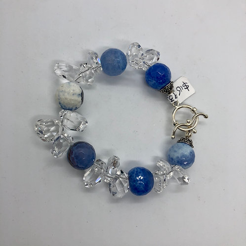 Faceted smoky blue agate, crystal quartz and sterling silver #31