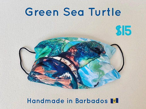 Green Sea Turtle face mask